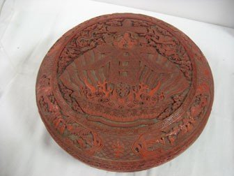 2: Chinese cinnabar-type penghe box with carved charact
