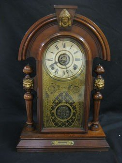 "8: Ingraham ""Mascot"" walnut parlor shelf clock.  E. Gat"