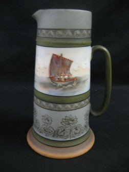 "12: Royal Bayreuth 8"" tankard with ship with three peop"