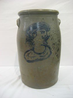 17: Rare 4-gallon stone jar with cobalt decoration of a