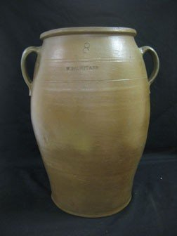 18: 8 gallon V. Baumstark stone jar - two handles of di