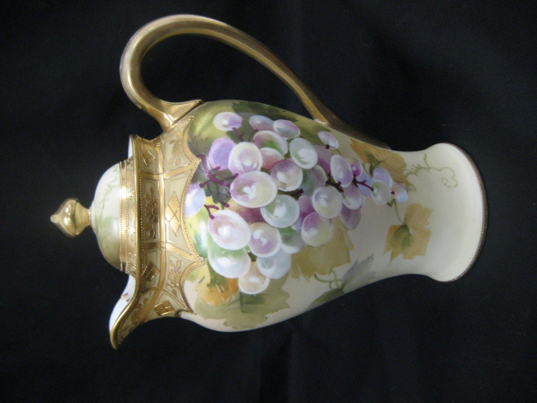 "1: Nippon GMW 10"" coffee pot with hand painted grapes."
