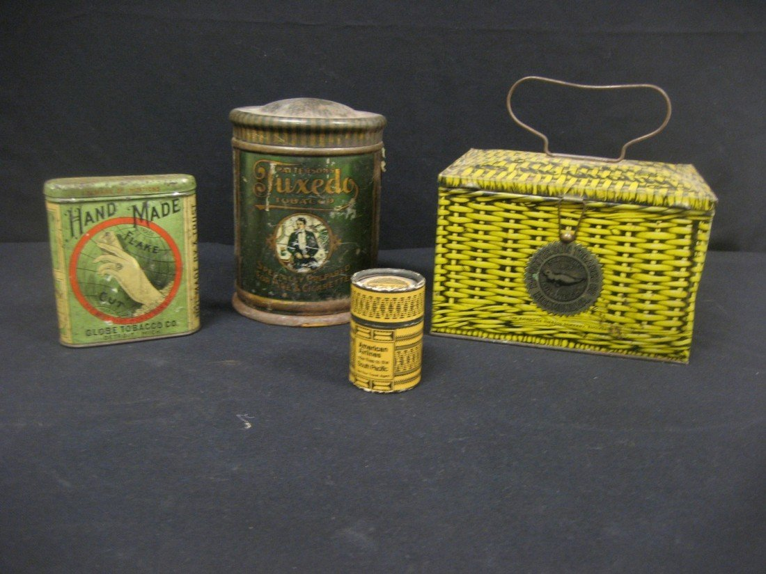 3: Tobbacco grouping:  Hand Made Flake Cut Tobacco tin,