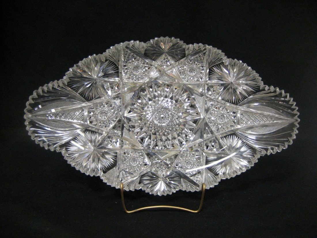 "10: Oval cut glass tray, app. 17 1/2"" X 10 1/2"".  Minor"