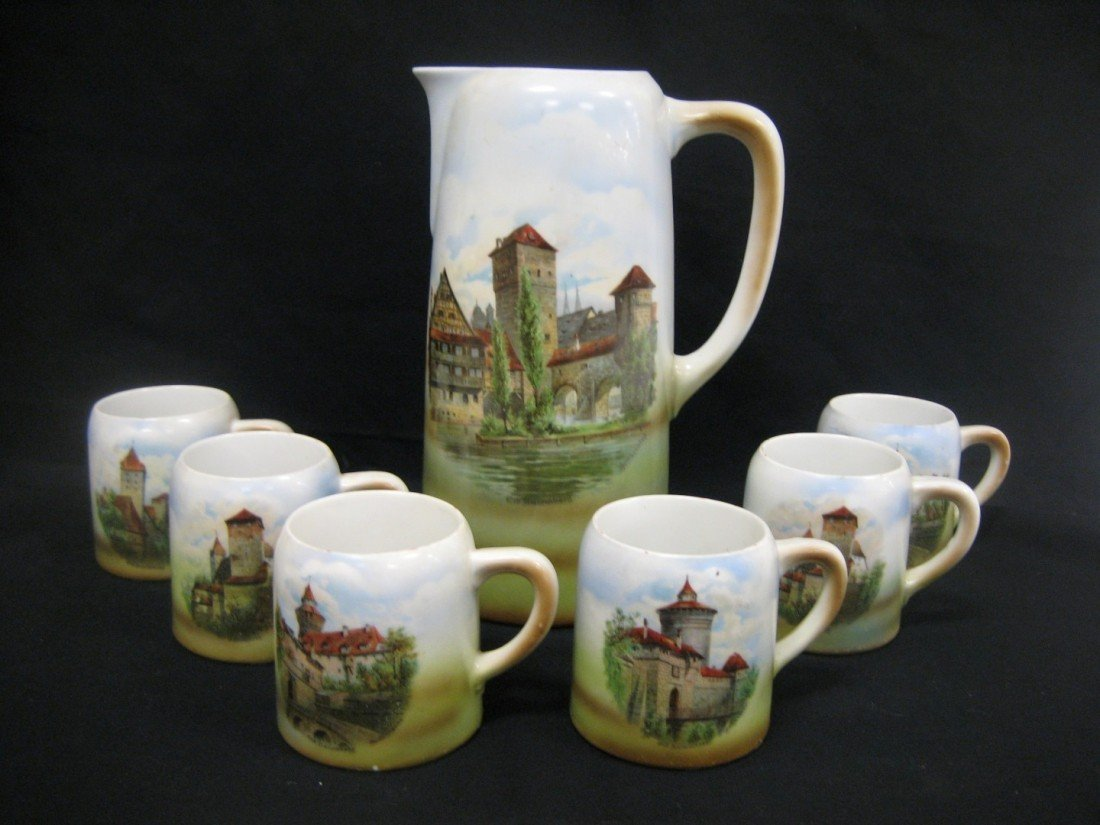 "16: Old Nuremberg tankard set with 11 1/8"" tankard and"
