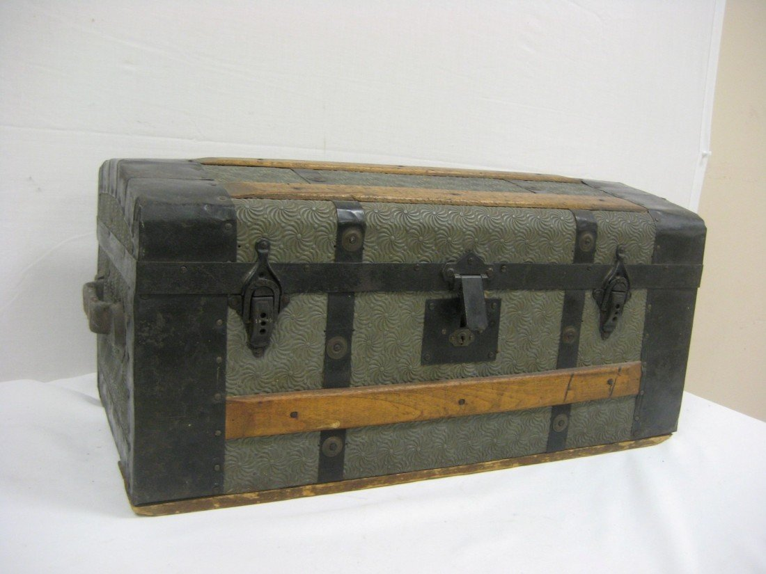 17: Early child's or miniature trunk with star swirl ti