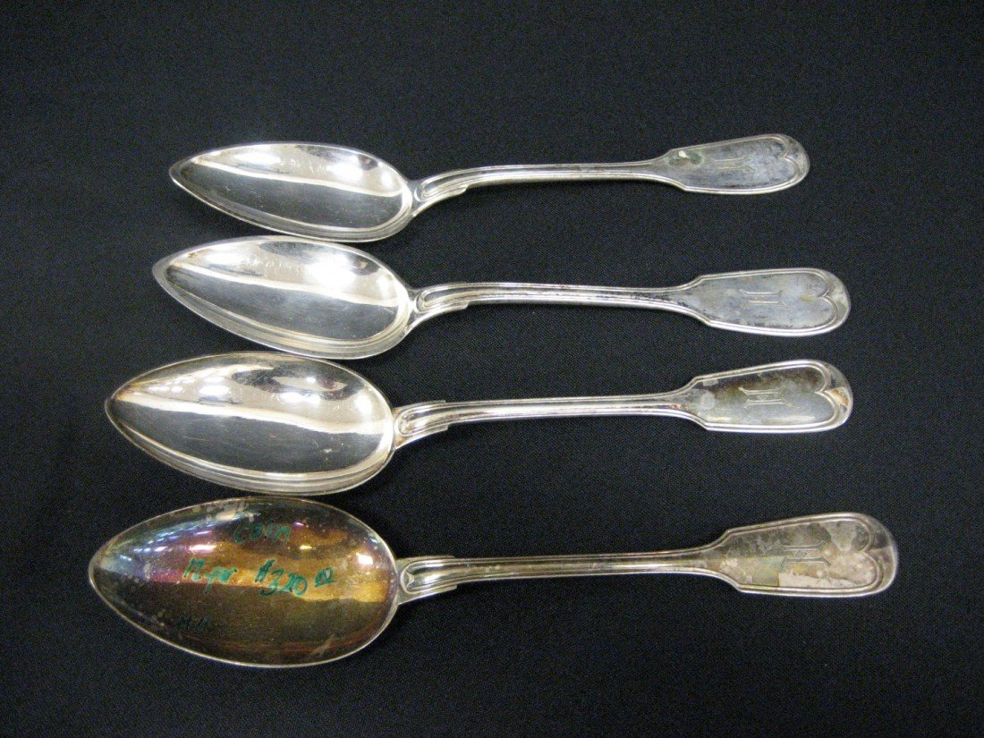 """192A: (4) silver serving spoons marked """"800"""".  Monogram"""