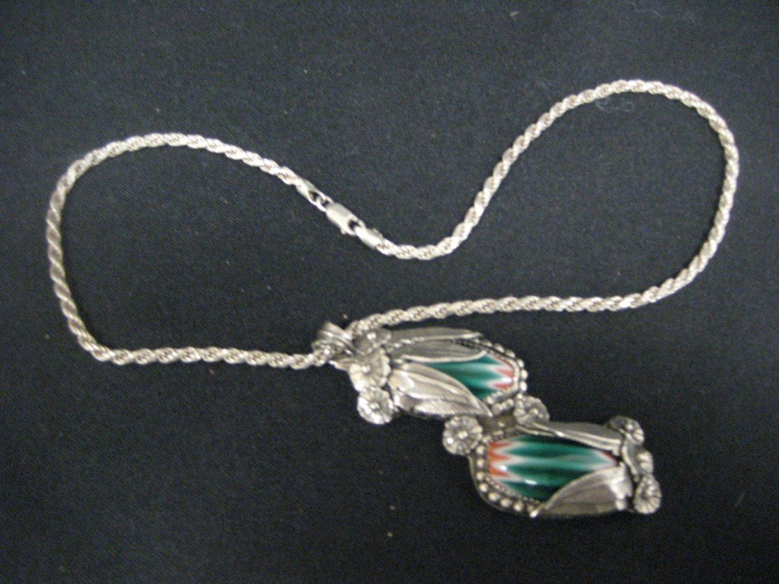 313A: QGI 925 Italy necklace with JB sterling pendant w