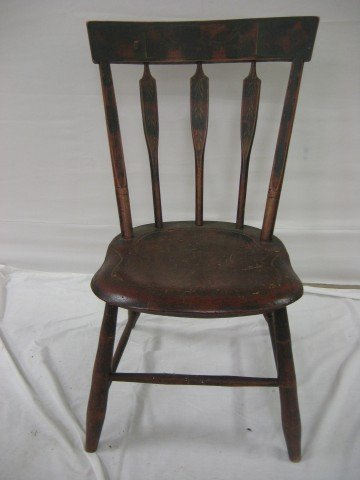 5: Fine painted and stenciled arrowback chair with earl