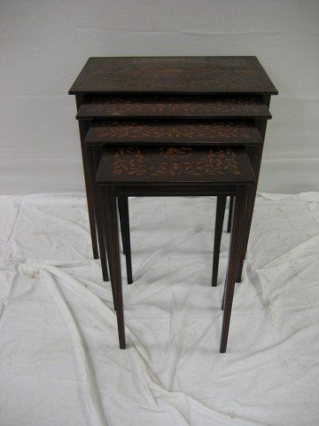 6: Set of walnut inlaid 4-stack tables with tapered leg