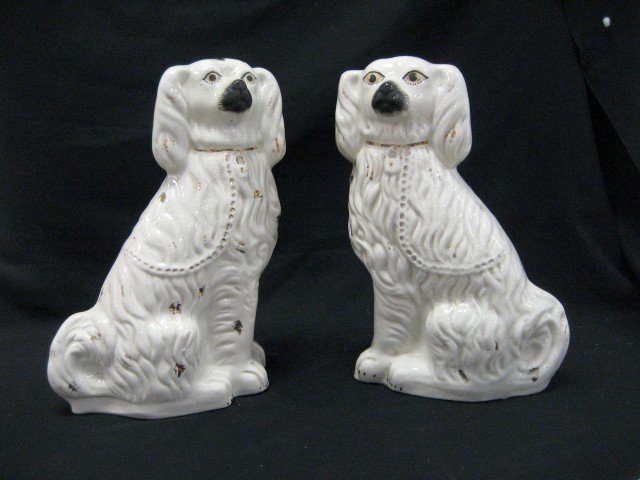 "10: 14 1/2"" pair of Staffordshire dogs, heavily crazed,"