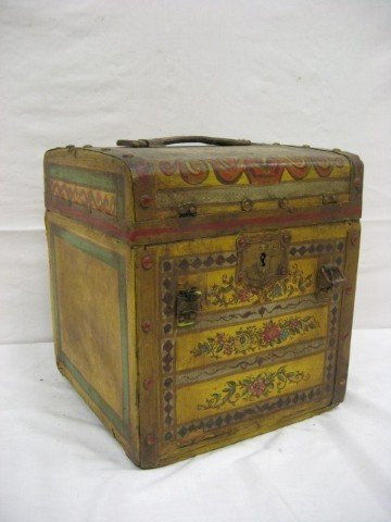 11: Early painted travel trunk with interior compartmen