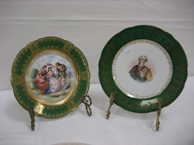 "13: Two (2) portrait plates.  9 5/8"" C.T. Germany marke"