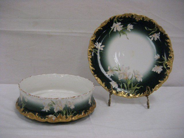 "18: Matching T&V Limoges shallow bowl and 12 1/2"" charg"