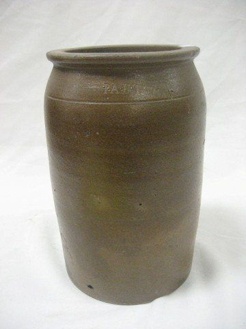 23: P.A. Huffman 1 gallon stone jar with minor blowouts