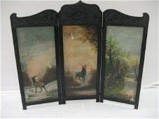 109 3panel folding screen with oil on canvas painting