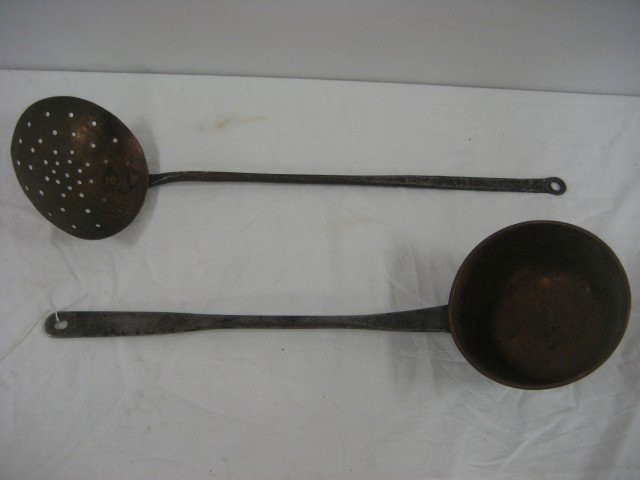 """6: 21 1/2"""" long handle skimmer with 5 5/8"""" copper bowl"""