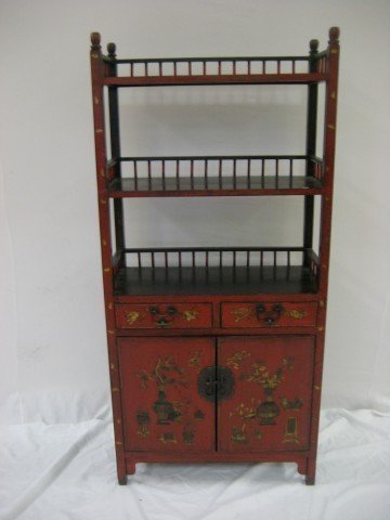 9: Red lacquer book shelf with gold highlights and pain