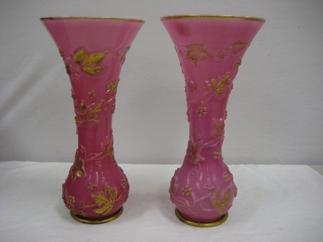 """10: 15 1/4"""" pair of pink cased vases with embossed grap"""