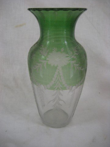 """12A: 8 5/8"""" Hawkes clear to green ringed and etched fla"""