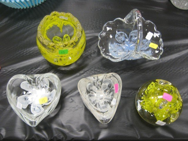 """15: Grouping of Zimmerman paperweights:  4"""" flower frog"""