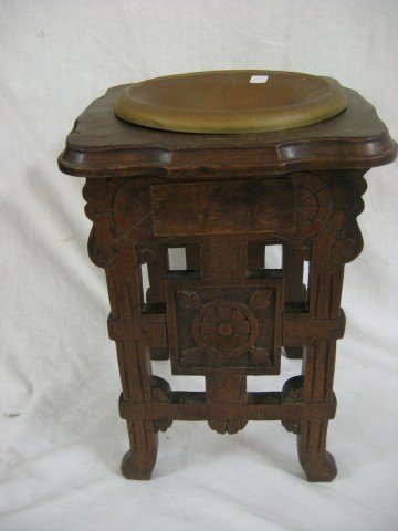 16: Victorian smoking stand with leather top and remova