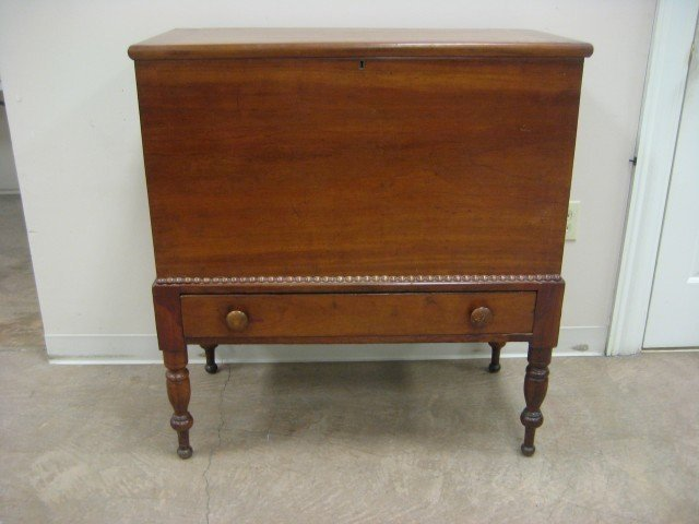 25: Cherry sugar chest on frame with single dovetailed