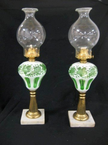 79A: Pair of early Sandwich lamps with marble base, ree