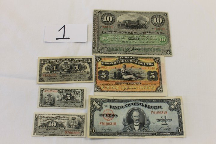 1: Cuba Currency:  1896 10, 5 and 1 peso, 5 centavos; 1