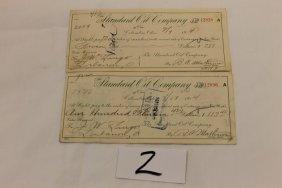 2: 1914 Standard Oil Company of Ohio checks (2)
