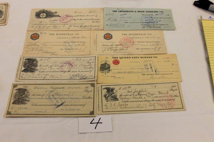 4: (10) Ohio checks - 1913 - The Huenefeld Co.; 1914 -