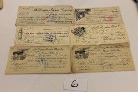 6: (6) Ohio checks - 1906 - The Ault Wooden & Willow Wa