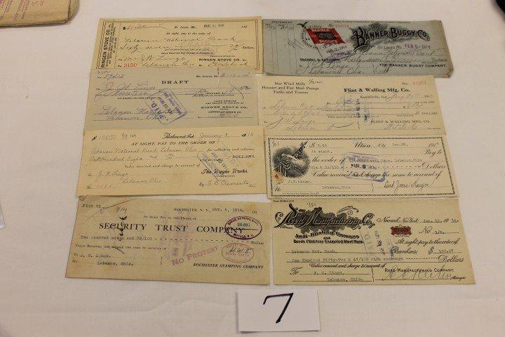 7: (8) Checks - 1906 - Ringer Stove Co.; 1914 - Reed Ma