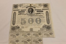 Confederate July 1st, 1868 $500 Bond No. 4153 With