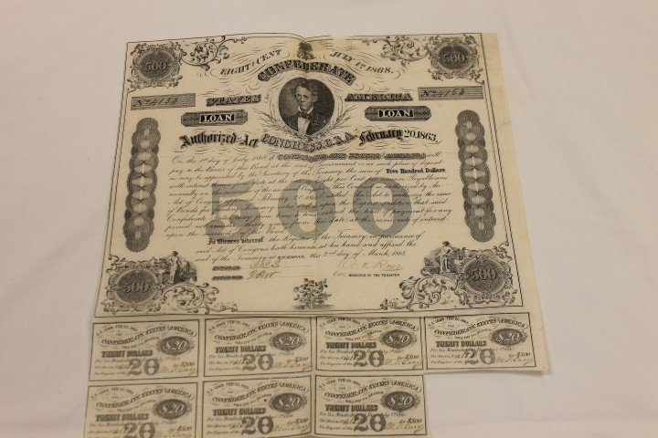 17: Confederate July 1st, 1868 $500 Bond No. 4153 with