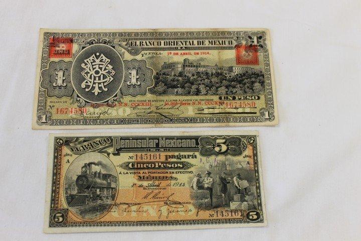 19: Mexico Currency: 1914 5 peso El Banco Peninsular Me
