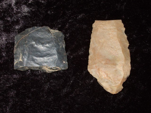 4: Two broken fluted Clovis points, Mason Co., KY.  Lar