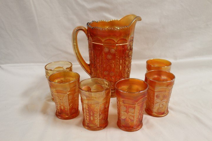 2: Fenton marigold Butterfly & Berry water set with 6 t