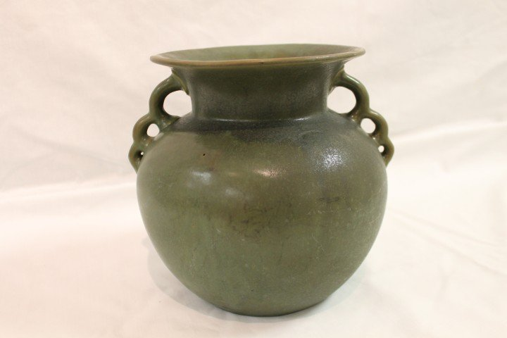 "6: Seldon Bybee 7 1/2"" No. 505 handled bulbous vase.  M"
