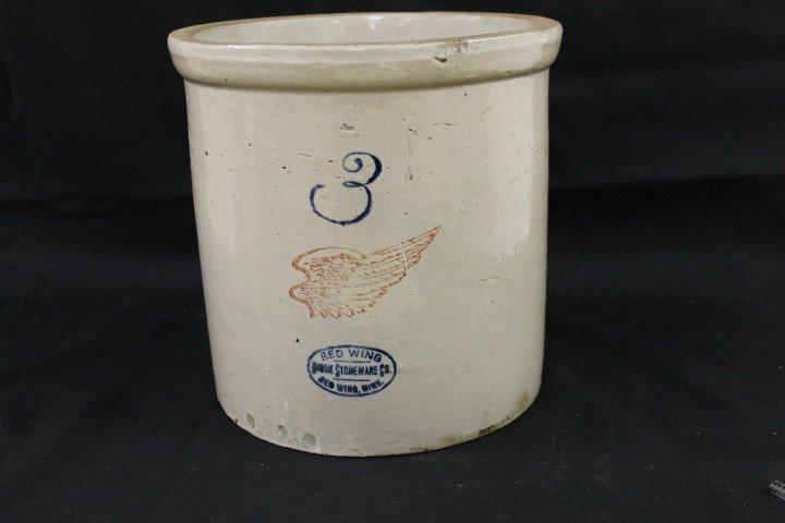 7A: 3 gallon Red Wing stone jar, minor glaze loss.