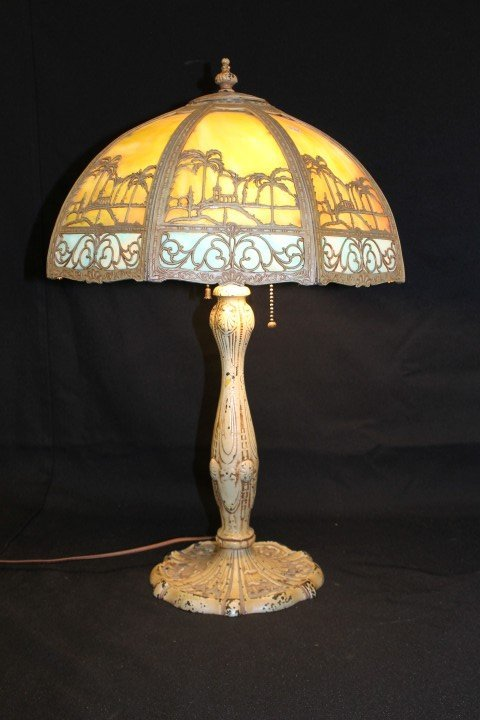 10: 8-panel slag lamp with desert scene.  Rewired and w