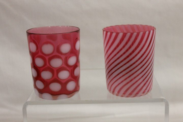 12: Cranberry opalescent coin dot and swirl tumblers