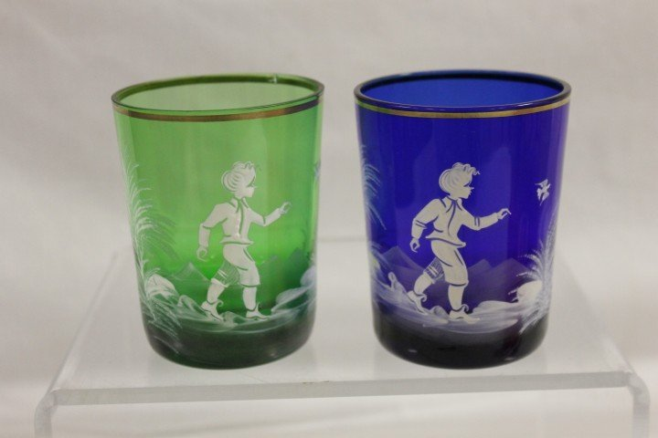 12A: Mary Gregory tumblers in green and cobalt blue