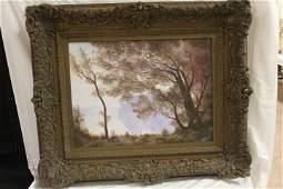 333: Oil on canvas painting of trees by a lake, signed