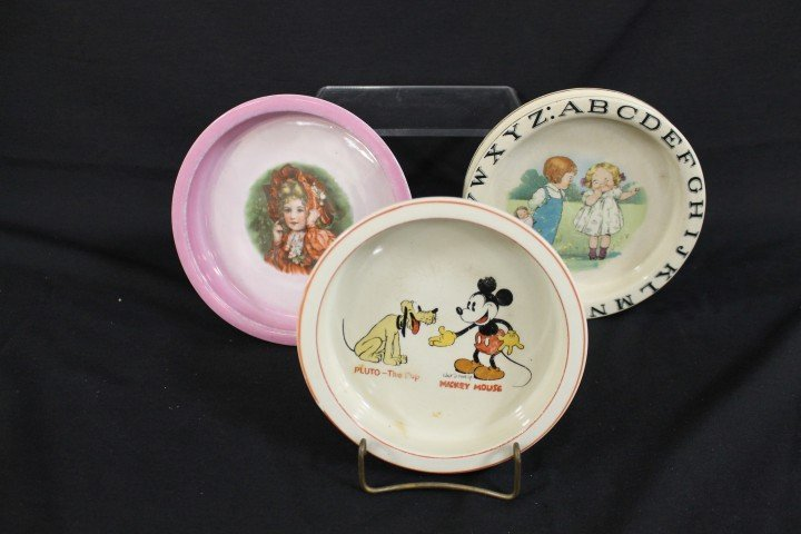 Children's dishes:  Wadeheath Ware Mickey Mouse and Plu