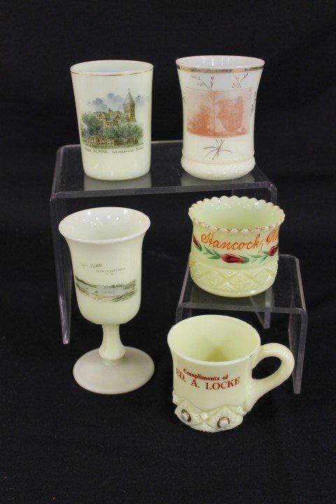"Custard glass:  Souvenir - 5 5/8"" chalice Lake Prior, W"