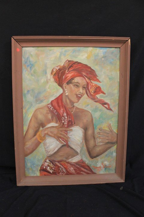 Francis Stumin oil on board painting of a Jamaican lady