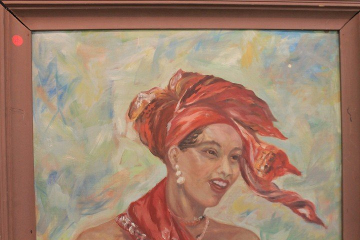 Francis Stumin oil on board painting of a Jamaican lady - 3