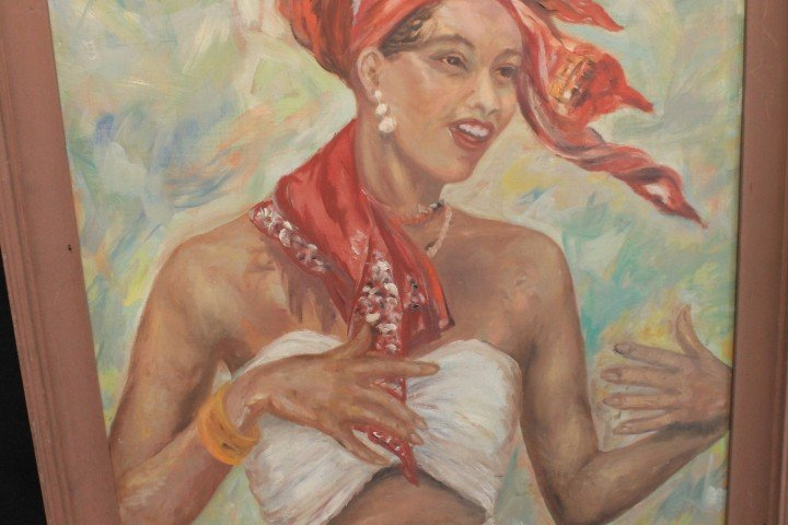 Francis Stumin oil on board painting of a Jamaican lady - 4