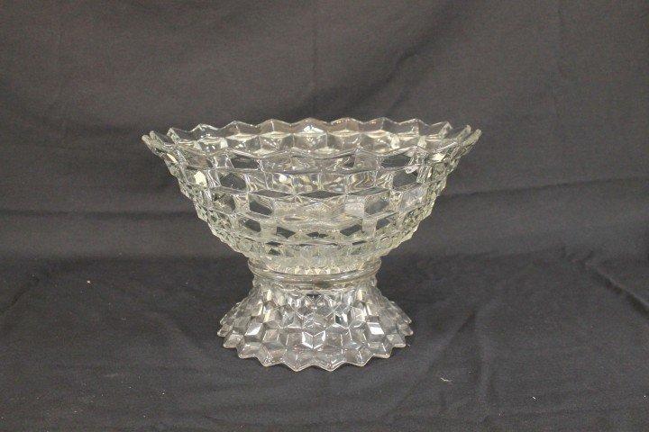 "Fostoria America punch bowl on standard, 14 3/4"" wide,"